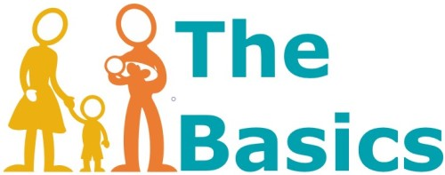 RVA Basics logo: The outline of a family in brand colors (orange and yellow) with The Basics written to the right in teal