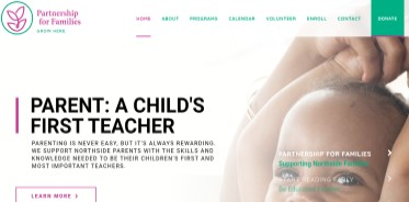home page for the Partnership for Families